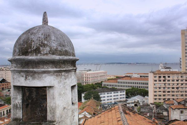 Vista de la bahía de Guanabara desde una torre vigía Fortaleza da Conceiçao Rio de Janeiro