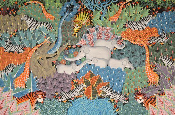 """""""Animales en armonía"""" de Y. Yosef Museo de Arte Naif Rio de Janeiro"""