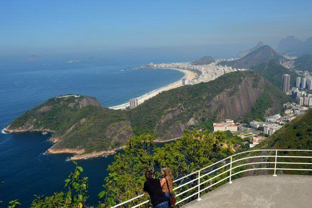 Vista de la playa de Copacabana desde el Pan de Azucar Rio de Janeiro Brasil