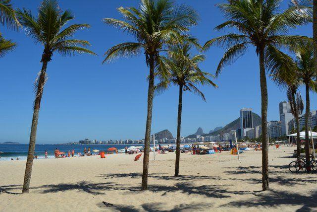 Palmeras en la playa de Leme Rio de Janeiro