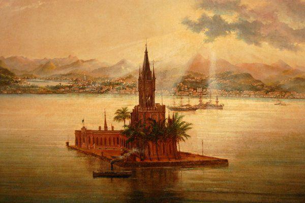"""Vista de la Isla FIscal en """"Panorama de Rio de Janeiro"""" de Facchinetti"""