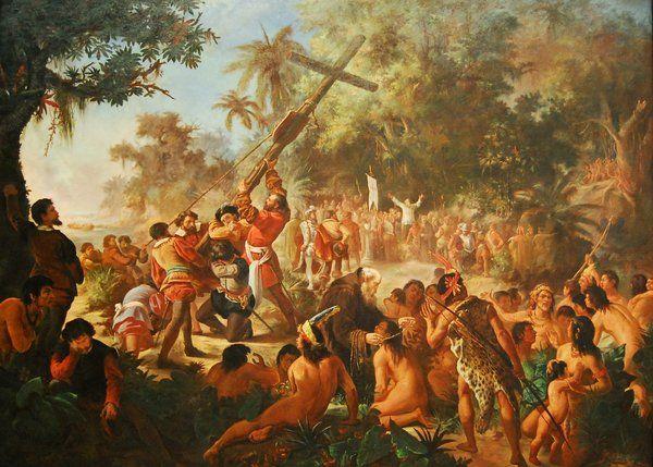 Escena representando la imposición de la fe cristiana a los indígenas Historia de Rio de Janeiro