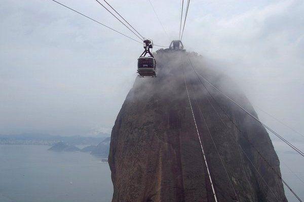 La cima del Pan de Azúcar en un día nublado Clima en Rio de Janeiro