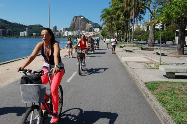 Ciclismo Rio de Janeiro Ciclistas en la Laguna Rodrigo de Freitas
