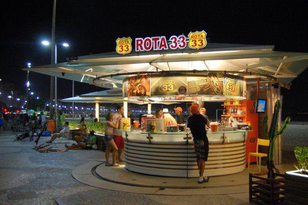 Quiosco de la orla de Copacabana Vida nocturna en Rio de Janeiro