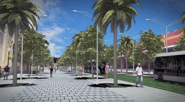 Paseo publico y tranvia en el Porto Maravilha Rio de Janeiro