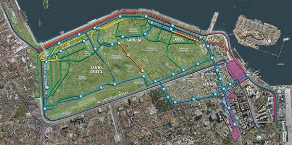 Mapa de las nuevas vías de circulación Porto Maravilha Rio de Janeiro