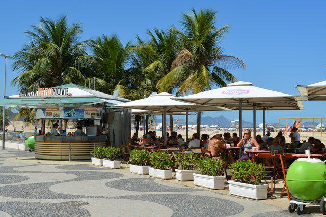 Kioskos en la orla de la playa de Copacabana