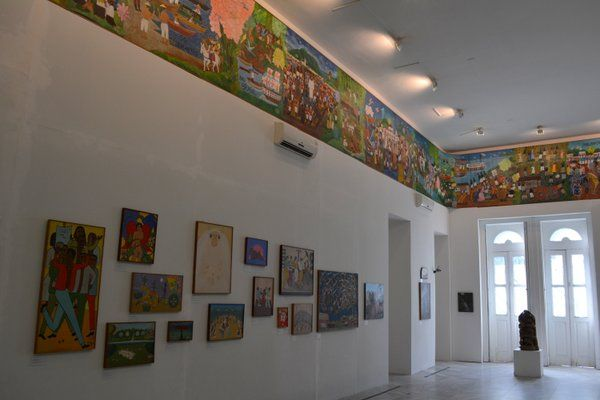 "Vista de la tela ""Brasil 5 siglos"" Museo de arte naif Rio de Janeiro"