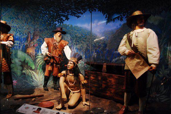 Diorama representando a los bandeirantes durante la época de la colonia Museo historico del ejercito Fuerte de Copacabana Rio de Janeiro