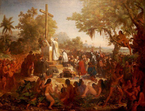 """""""La primera misa en Brasil"""" de Victor Meireles Museo Nacional de Bellas Artes Rio de Janeiro"""