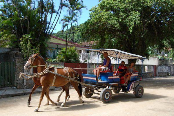Uno de los tradicionales carros tirados por caballos Isla de Paqueta Rio de Janeiro