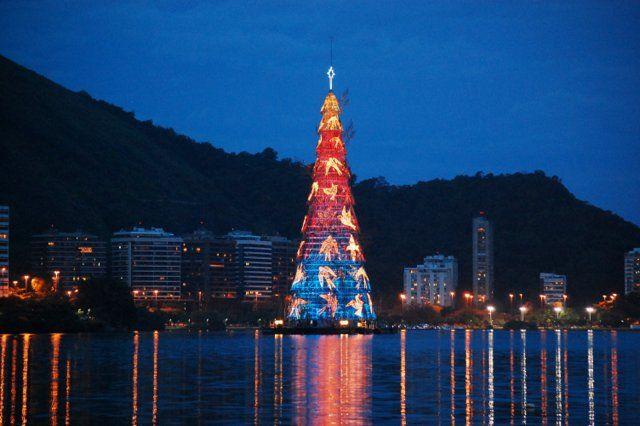 Arbol de Navidad Laguna Rodrigo de Freitas Rio de Janeiro