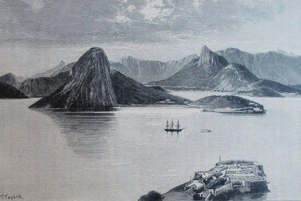 """""""Entrada de la bahía de Río de Janeiro"""" de Dessin de Taylor Historia de Rio de Janeiro"""