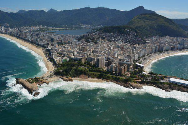 Vista de las playas de Ipanema, Arpoador y Copacabana Geografia de Rio de Janeiro