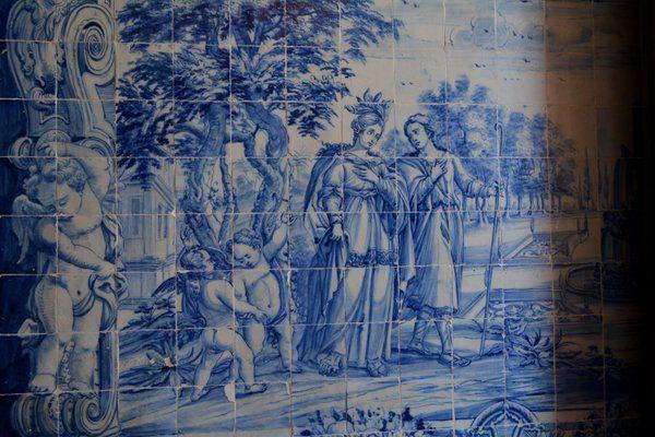 Detalle de los azulejos de las paredes Iglesia Outeiro da Gloria Rio de Janeiro