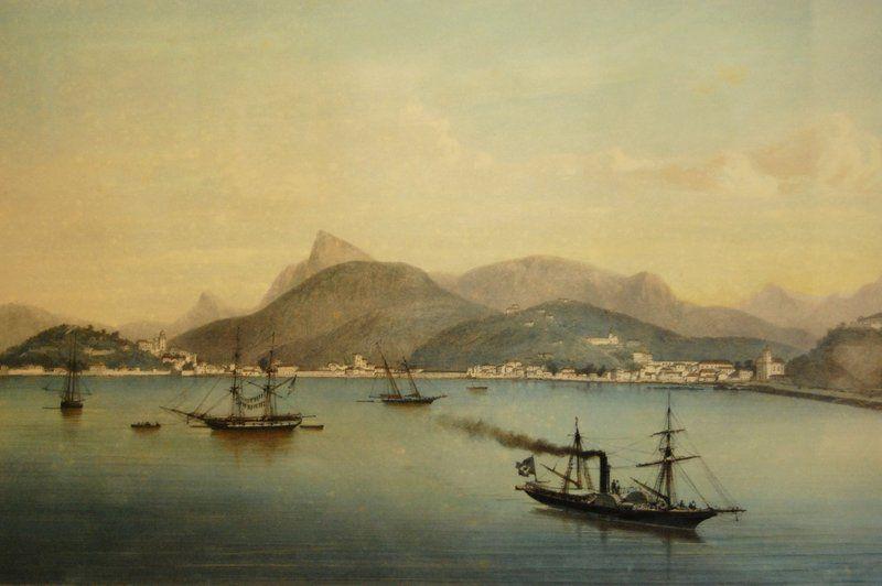 Barco de vapor en la bahía de Guanabara Historia de Rio de Janeiro