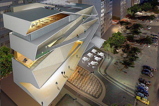 Perspectiva aérea del MIS rio de janeiro Museo de la Imagen y el Sonido Rio de Janeiro