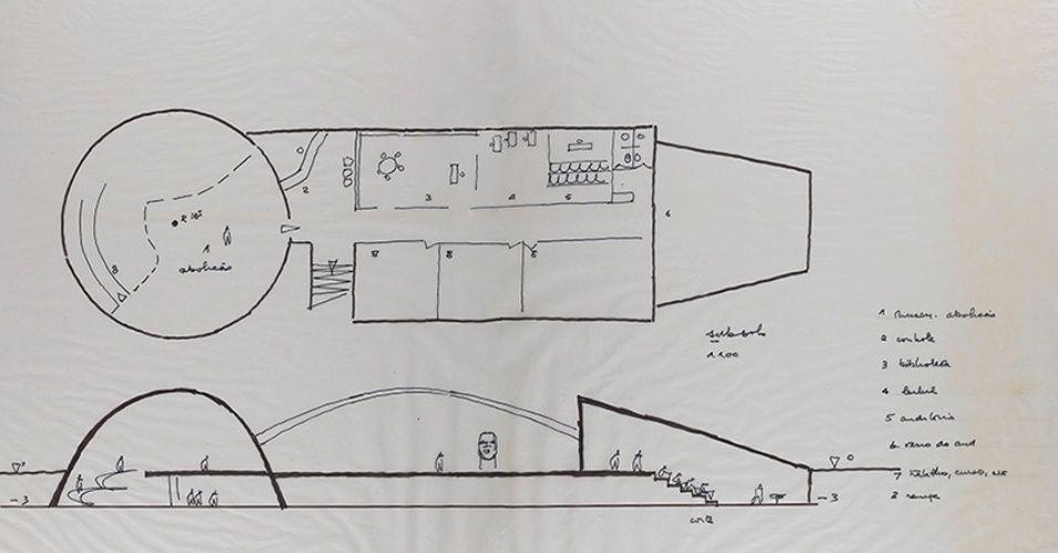 Croquis de un proyecto de Oscar Niemeyer, expuesto en el Palacio Imperial de Río de Janeiro
