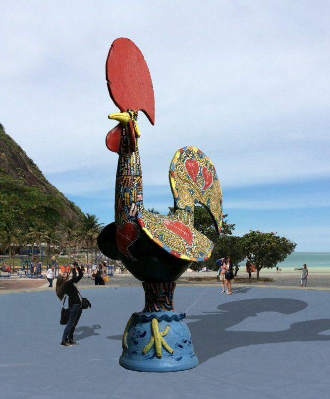 Gallo de Barcelos en playa de leme por las celebraciones de Rio 450