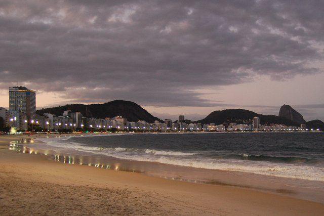 Vista nocturna de Copacabana